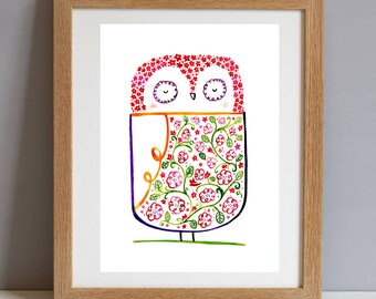 New Baby Gift Print, Owl Baby Shower Nursery Gift, Decorative Nursery Wall Art Print