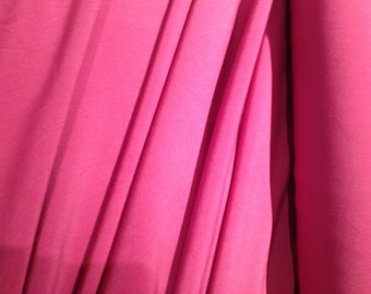 Rose Pink Lightweight Crinkle Soft Polyester Blouse Shirt Fabric x one yard