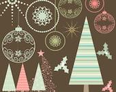 50s Christmas Clipart, Retro Christmas, Christmas Clip Art, Instant Download, 50s clipart