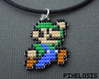 Luigi Necklace, Seed Bead, Video Game Jewelry, Nintendo, Handmade, Pixelated, Super Mario, 8 Bit,  Miniature Pixel Art, Bead Weaving