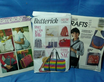 Simplicity 7004, Butterick 6678, McCall's 3567, Purse Patterns, Totes, Back Pack,