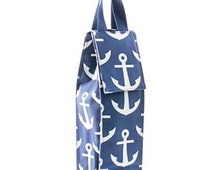 Personalized Wine Bottle Carrier/Tote Insulated Anchor Print Embroidered