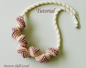 PEACHES AND CREAM Cellini spiral seed bead necklace beading tutorial beadweaving pattern beaded jewelry pattern instructions beadwork