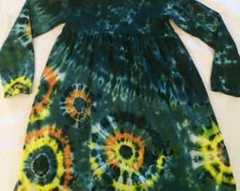 Girl's Size 8 Teal Green Burst Tie Dye Princess Dress