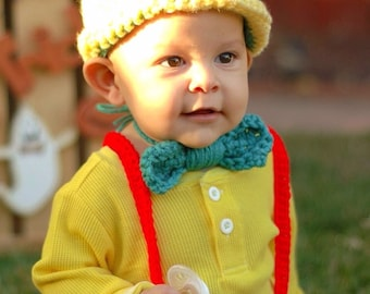 Crochet Disney's Pinocchio Outfit (hat, diaper cover w/suspenders, a bow-tie and booties)