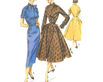 1950s Style Shirt Dress With Full or Pencil Skirt Custom Made in Your Size From a Vintage Pattern