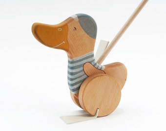 Wooden Duck Push Toy, Wood Toddler Toy, Wooden Push Along Toy, Push Duck Toy, Kids Wooden Toy