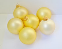 REDUCED! 6 Pearlized Gold Vintage Glass Christmas Ornaments Krebs Crowns