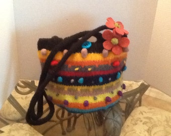 Hand knit, felted bobble tote bag.