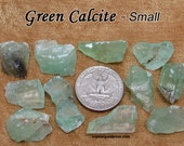 Green Calcite (small) raw rough stone for crystal healing — Green and Aqua-Green color