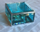 Beautiful colored turquoise blue beveled glass box to hold and keep your special things 4 x 4 x 2