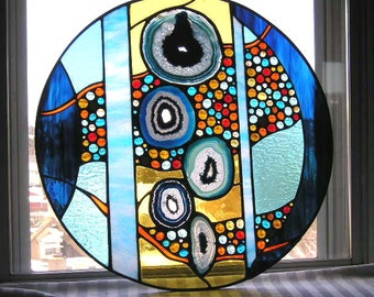 Stained Glass Panel|Stained Glass Window|Round Stained Glass Panel with Blue Agate|Agate|Abstract Stained Glass|OOAK|Handcrafted|Made in USA