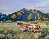 watercolor ORIGINAL, Pinto, horse pony desert, Taos, New Mexico sunset