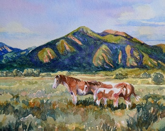 watercolor ORIGINAL, Pinto, horse pony desert, Taos, New Mexico sunset