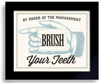 Bathroom Art Brush Your Teeth Dentist Office Kids Bathroom Decor Wall Art Print Dental Hygiene Kids Teeth Orthodontist
