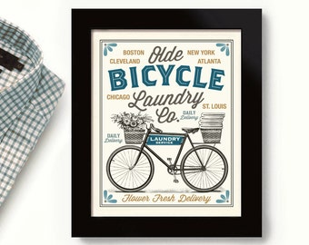 Old Bicycle Laundry Room Decor Vintage Bicycle Art City Names Linens and Sheets Washing Machine Home Art Sign Wall Art Print Laundry Sign