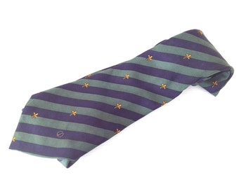 vintage dunhill necktie, dunhill london  tie,  dark blue and green  tie, fleur de lis pattern, high fashion tie,  made in italy