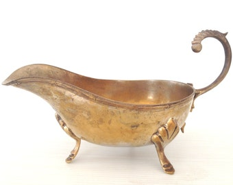 brass gravy boat, ornated brass bowl, oriental  brass dish, metal gravy dish, serving bowl, ornated metal gravy dish