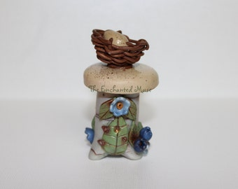 Delightful Cottage Style Bird's Nest Fairy House for fairy garden