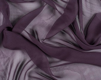 "45"" Wide 100% Silk Chiffon Aubergine Purple By the Yard"