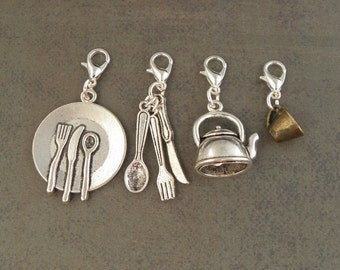 UTENSILS Charm Set - For The Create Your Own The Walking Dead Zombie Apocalypse Charm Bracelet - Set Of 4 - Zombie Survival Kit Jewellery