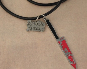 ZOMBIE HUNTER Bloody Knife Black Leather Thong Necklace For The Walking Dead Zombie Apocalypse - Men's Unisex Necklace - Knife Pendant