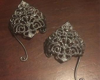 Ear cuffs,Elf ear cuffs,Elven ears,Fairy ears,Fantasy ear cuffs,filigree Ear cuffs, ear Tips, charcoal gray.