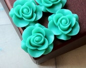 SPECIAL OFFER 21 mm Milky Green Colour Rose Resin Flower Cabochons (.ag)