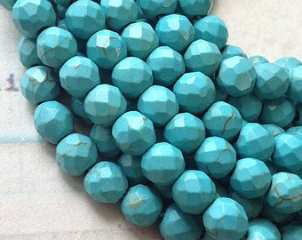 1 Strand of 10 mm Faceted Round Blue Green Color Turquoise Beads (.sm)(.gz)