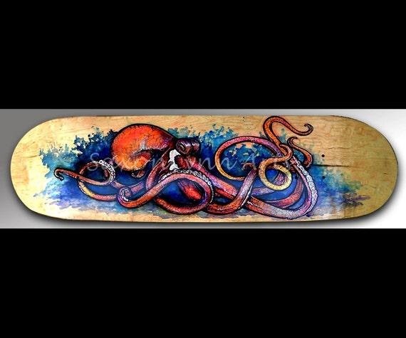 Octopus Art | Wall Art | Red Octopus | Skateboard Art | Octopus Wall Art | Surf Art | Animal Art | Beach Decor | Home Decor | Octopus | Surf