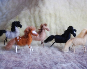 1 Felted Horse Wild Mustangs, Needle Felted, Wire Wrapped Felted Animals