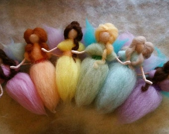6 Small Needle Felted Fairies, Rainbow of Colors, Walforf Inspired