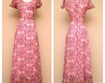 Vintage 1960s Dress Pink Floral Dress Arjon of California 60s Full Length Boho Hippie Floral Dress Pink Floral Print Feminine Size Small