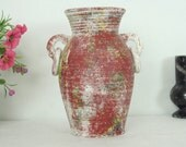Terra Cotta Pottery Vase, Vase with Handles, Home Decor, Mediterranean