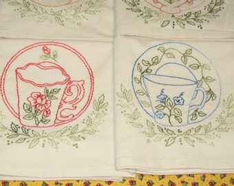 Free Shipping Set of Seven Tea Towels Cup & Saucer With Garland Accent OOAK