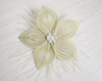 Bleached Ivory Peacock Feather Flower Hair Clip Fascinator with Ostrich feathers and Silver Accent Piece and Pearls