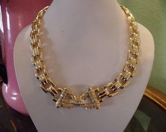 Bold Rhinestone and Goldtone Necklace