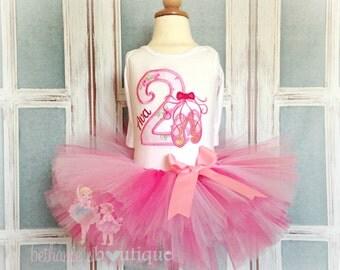 Ballerina birthday outfit - ballerina tutu outfit - pink ballet tutu - 1st birthday outfit - dancer tutu outfit - ballet birthday outfit