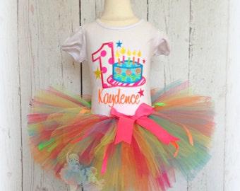 First birthday outfit - birthday cake tutu outfit - 1st birthday tutu outfit - custom birthday outfit for girls - neon birthday tutu