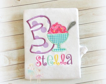 Ice cream themed birthday shirt - ice cream birthday shirt for girls - embroidered birthday shirt with sundae - 1st birthday ice cream shirt