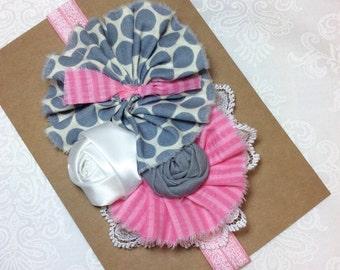 Pink grey gray headband baby girl headbands chiffon flower fabric flower Vintage infant, newborn, rolled rosette colored elastic women, teen