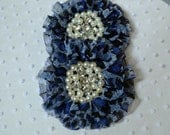Blue Black Cheetah Print Chiffon Flowers with Rhinestone Pearl Centers. 2 Pieces.