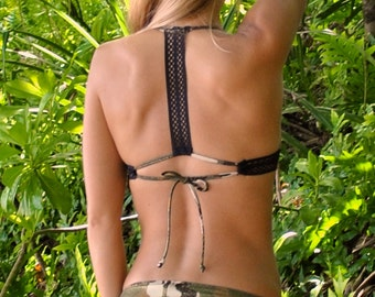 T Back Tie Swimsuit Surf Bikini Top with Mesh Black Straps in Camouflage Glitter Sparkle Print black, brown, green, beige, tan