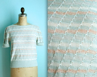 vintage 80s creamsicle pastel striped knitted top / size small / white pink blue