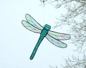 Dragonfly Suncatcher In Jade Green Blue Stained Glass 9""