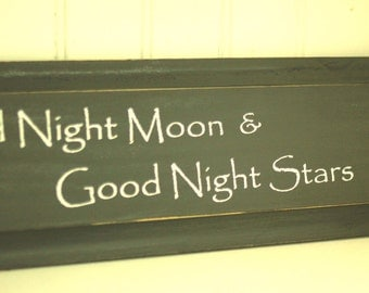 Charcoal Grey Distressed Wooden Wall Sign - Good Night Moon & Good Night Stars - Nursery Decor