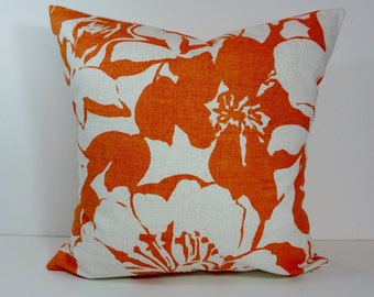 Orange Pillow Cover, Tangerine Decorative Cushion Cover, P Kaufmann Fabrics, Orange and White, 18 x 18