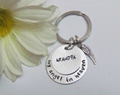 GRANDPA - My ANGEL in HEAVEN  - Key chain -Personalized Name-  Angel wing charm -gift bag included