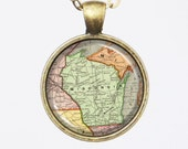 Wisconsin, Custom Map Necklace -State of Wisconsin, United States -Vintage Map Series