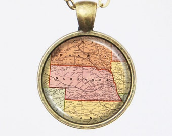 Personalized State Map Necklace - Nebraska -Custom Vintage Map Series